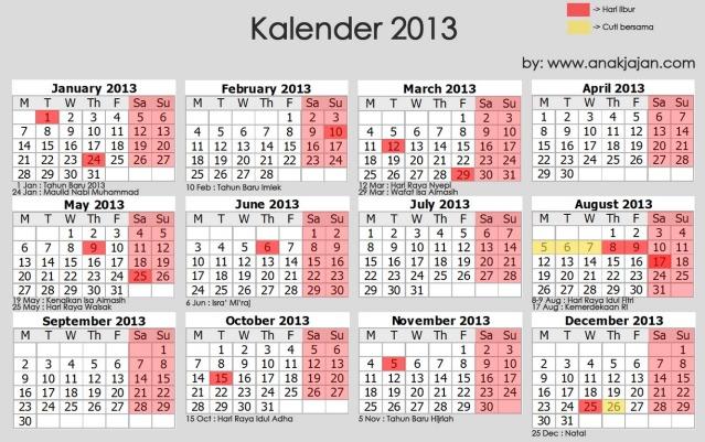 hari libur 2013