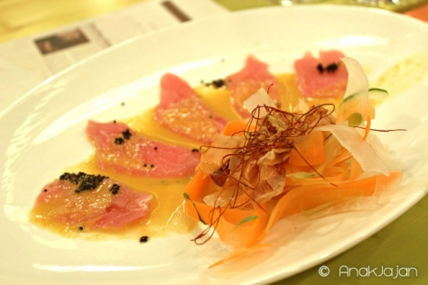 Tuna Carpaccio with Okinawa Sauce and Daikon