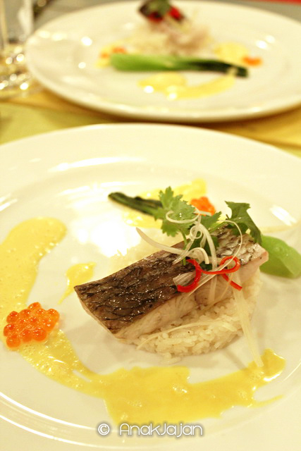 Steamed Fega Barramundi, Ginger Scented Rice & Lime-Cocunut Sauce