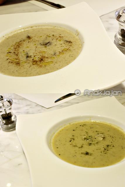 Mushroom soup IDR 31k, Clam Chowder IDR 33k