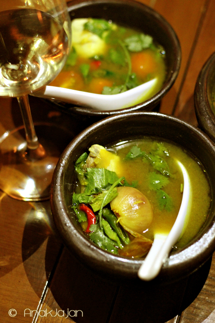 Southern Hot & Sour Soup Fish with Thamrind Leaves, Tumeric, Chillies, Lime Leaves and Coriander