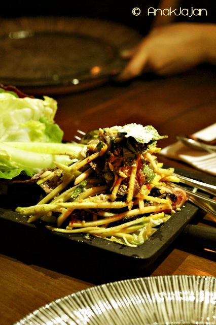 Grilled Beef Salad with Green Mango, Shallots, Peanut, Mint and Nahm Jim Jiaw