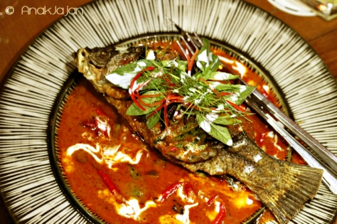 """Choo Chee"" of crispy Barramundi with Chili and Thai Basil"