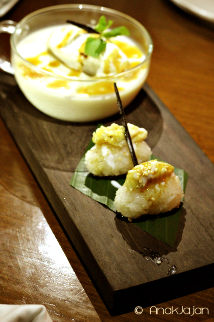 Durian Panna Cotta with White Sticky Rice