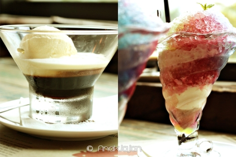 Coffee Jelly : Kahlua and Vanilla ice cream IDR 25K , North Shored shaved ice : With ice cream IDR 18K