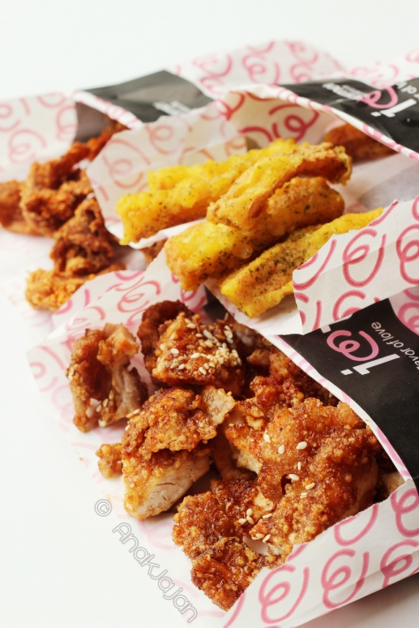 Three of our favorite: Chicken Skin IDR 18k, Sweet Potato IDR 18k, Selina - BBQ Crispy Chicken IDR 32k