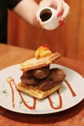 Southern Fried Chicken & Waffles with Chili Butter & Maple Syrup IDR 89k