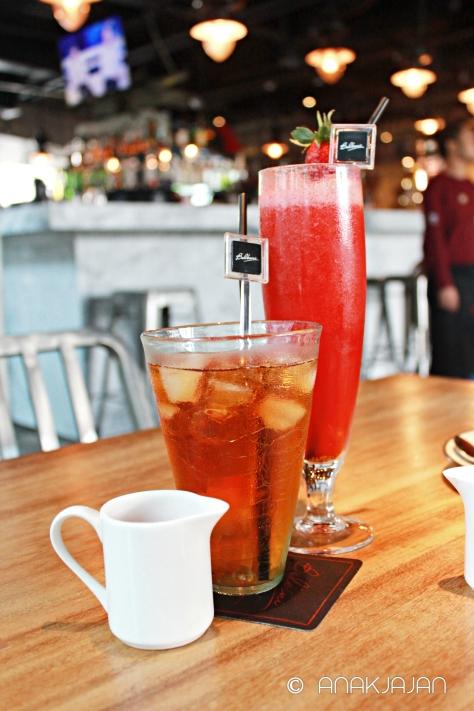 Lychee Iced Tea IDR 35k, Fresh Strawberry Juice IDR 35k