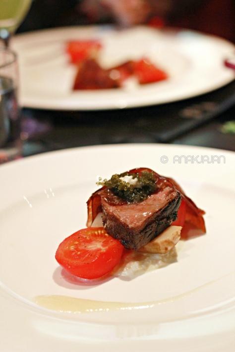 Kagoshima Wagyu, Burrata, Fruit Tomato, Artichoke & Sea Grapes
