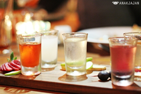 Infused Vodka IDR 320k/platter of 5 shots or IDR 80k/serving