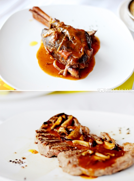 Braised Lamb Shank with Caramelized Onion Sauce, Beef Sirloin with Mushroom Sauce
