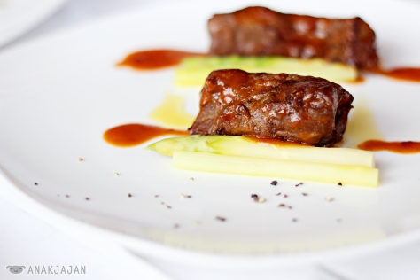 Slow Cooked Wagyu Intercosal with Daily Vegetables