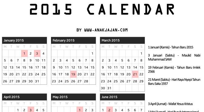 2015 Calendar Anakjajan Com
