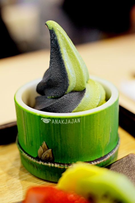 Charcoal Vanilla and Matcha twist softcream