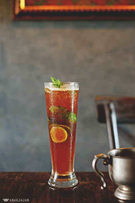 Black Mojito (on request), refreshing coffee with lime and mint drink