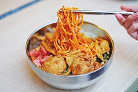 Bibimyun with Beef Ham IDR 38.1k (with spicy ramyun)