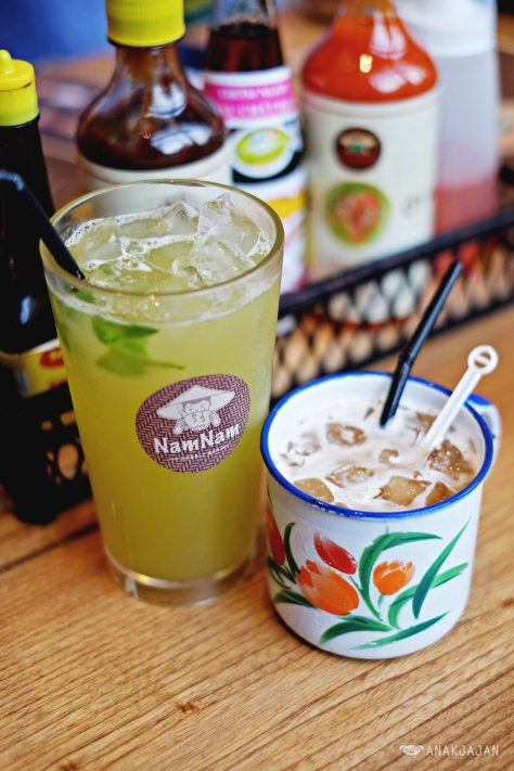 Freshly Pressed Sugarcane Juice with Kaffir Lime Leaves IDR 20k, Viet Coffee with Condensed Milk Iced IDR 30k