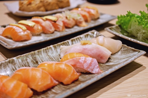 Fatty Salmon Sushi IDR 11k/ piece Scallop Sushi IDR 30k/ piece Sword Fish Sushi IDR 13k/ piece