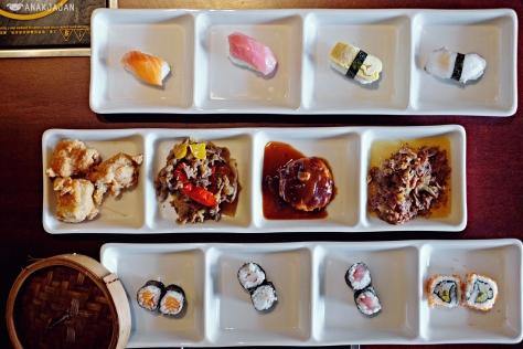 Sushi, Karaage, Beef Hamburg, Gyudon