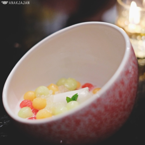 Coconut Panna Cotta, Melon Balls, Sweet Coconut Soup IDR 45k
