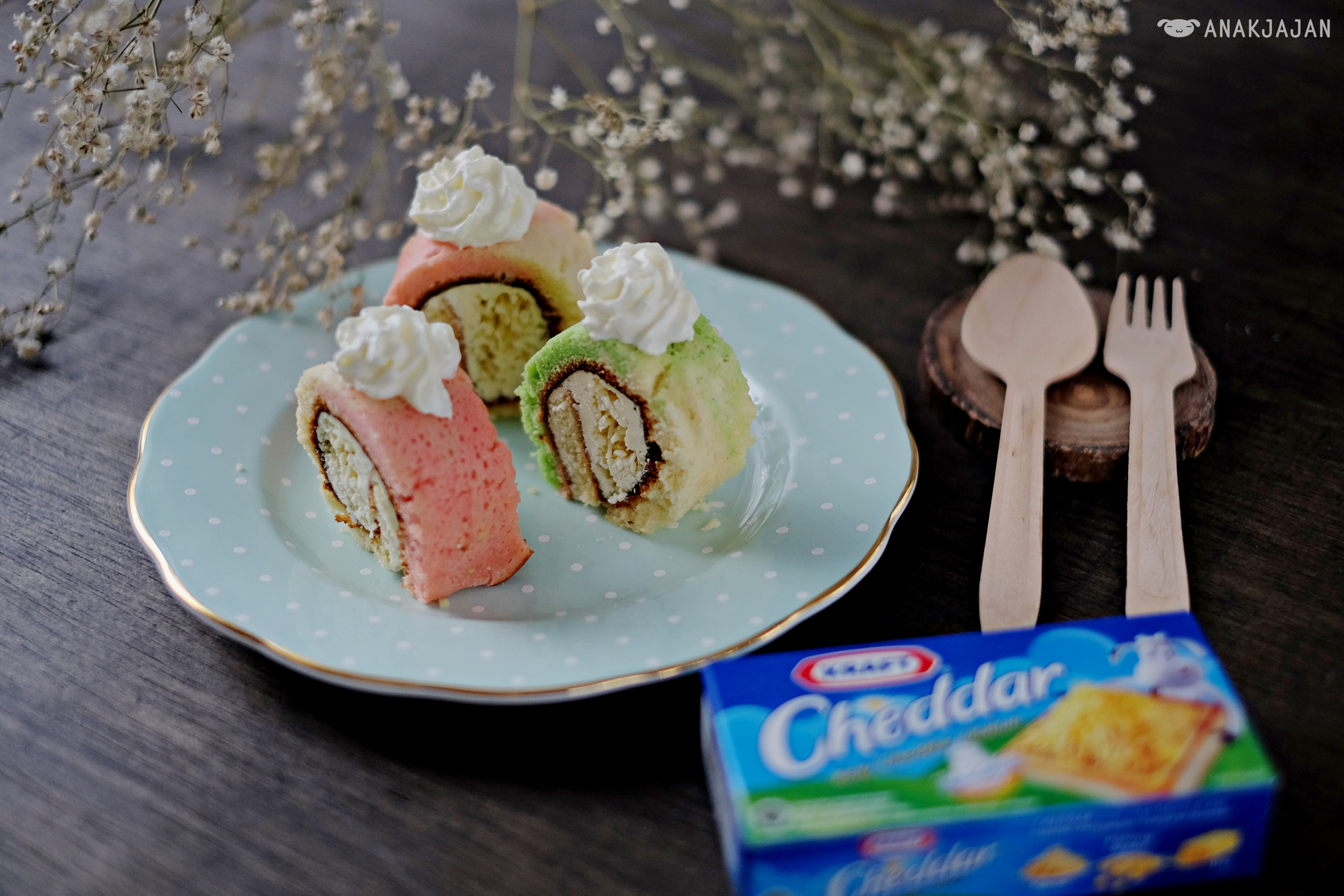 RECIPE] KRAFT Tricolor Cheese Roll Cake (No Oven)   ANAKJAJAN.COM