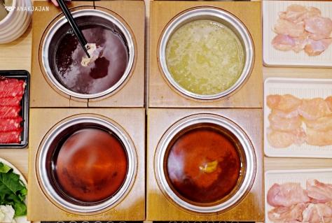 Dashi, Chicken & Collagen, Spicy & Sukiyaki (clockwise)