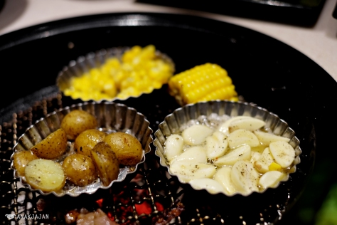 grilling butter corn, potato, garlic