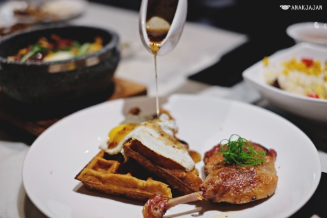 Pan Fried Duck Confit with Waffles IDR 139k