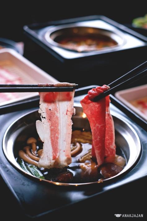 US Premium and Wagyu on Original Konbu soup