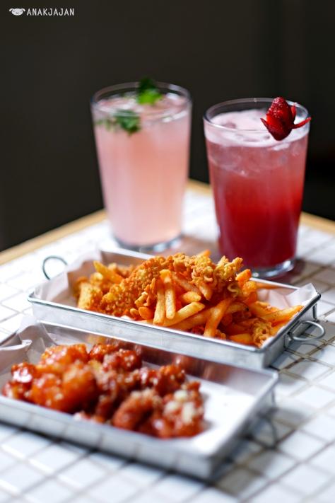 The Pink Noona IDR 42k, Bery Saranghae IDR 42k, Ramen Fries IDR 28k