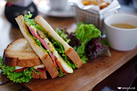 Double Decker Sandwich IDR 88k (Lunch set with drink, salad and chips)