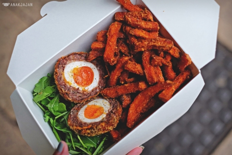 Scotch Egg Salad GBP 4.50, Sweet Potato Fries GBP 2.40