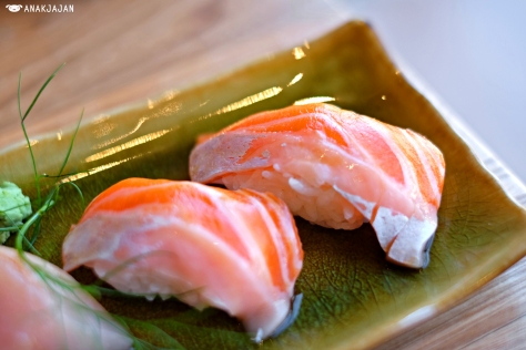 Salmon Belly Sushi IDR 26k/pc