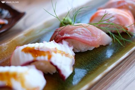 Tako Sushi IDR 19k/pc, Hamachi Sushi IDR 31k/pc, Salmon Belly Sushi IDR 26k/pc