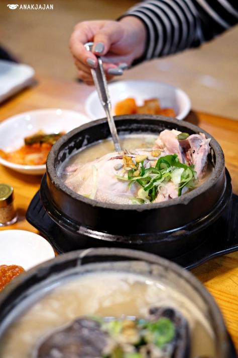 Sansam Baeyanggeun Ogolgye Samgyetang (black chicken with wild ginseng roots) KRW 21.000 Samgyetang KRW 15.000