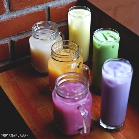 Banana Latte IDR 14.5k // Ice Jeruk Upnormal IDR 13.5k //Ice Lychee Upnormal IDR 13.5k //Ice Anggur Upnormal IDR 13.5k // Taro Latte IDR 14.5k // Green Tea Latte IDR 14.5k