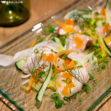 Yellow Tail Carpaccio with Yuzu Pepper Dressing IDR 95k