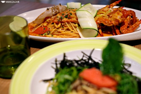 Tomato Sauce Spaghettini with Blue Crab and Zucchini IDR 168k