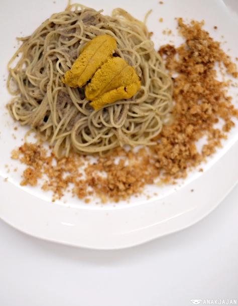 Sea Urchin - Pork Crackling - Truffled Angel Hair IDR 195k