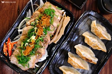 Grilled Pork Char-shu IDR 50k,  Grilled Gyoza Pork IDR 35k