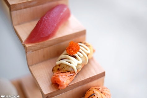 Maguro Sushi IDR 20k/ 2pcs, Aburi Salmon Cheese IDR 25k/ 2pcs