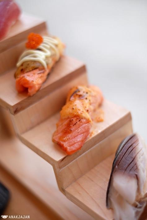 Aburi Salmon Cheese IDR 25k/ 2pcs, Aburi Salmon Mentai IDR 25k/ 2pcs, Shime Saba IDR 35k/ 2pcs