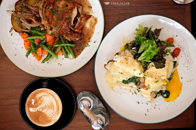 Pan Fried Chicken Leg IDR 75k, Eggs Benedict IDR 70k