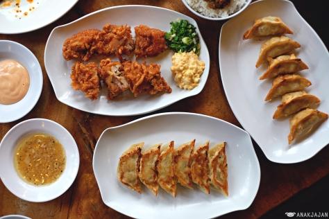 Ayam Goreng (Tori Karaage) IDR 34k, Gyoza Babi Bakar IDR 28k, Gyoza Babi Goreng IDR 28k