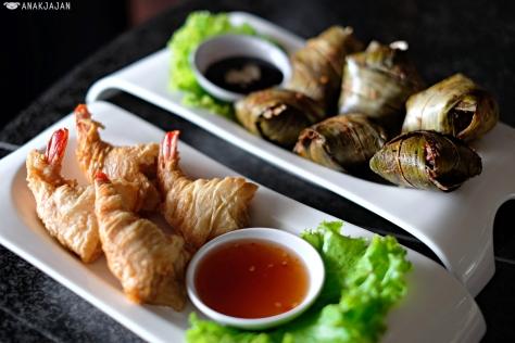 Deep Fried Shrimp in Bean Curd Skin (Udang Bungkus Tahu) IDR 76k // Pandan Chicken (Ayam Pandan) IDR 57k