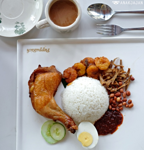 Nasi Lemak with Fried Chicken + Sambal Prawns IDR 60k