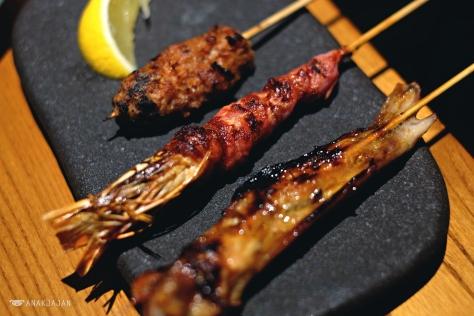 Yakitori - Ebi Bacon IDR 45k // Tebasaki IDR 20k // Tsukune IDR 15k