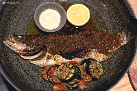 Wood Fired whole White Snapper with Zucchini & Tomatoes IDR 325k