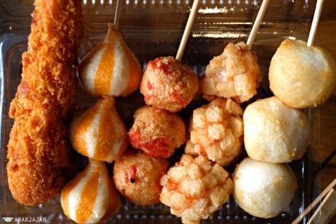 Ebi Furai IDR 9k, Cheese Dumpling IDR 8k, Salmon Ball IDR 8k, Shrimp Bomb IDR 8k, and Sweet Fish Ball IDR 8k