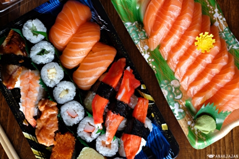 Sushi Set J IDR 59k, Salmon Sashimi IDR 59k
